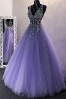 Brand New V Neck Beaded Sheer Bodice Lavender Prom Evening Dress Little Puffy