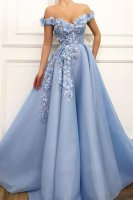 Off Shoulder Baby Blue Pleats Skirt Formal Prom Dress With 3D Flowers