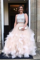 Sparkly Beaded Scoop Bodice Two Pieces Horsehair Ruffles Beige Champagne Prom Evening Gown