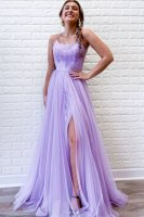 Branching Spaghetti Strap Lilac Tulle Thin Lace Lining Prom Dress With Slit