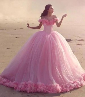 Princess Off Shoulder Basque Bodice 3D Flowers Surround Hemline Soft Tulle Ball Gown For Sweet 16 Party Quinceanera