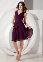 Dark Purple V-neck Knee Length Skirt Wedding Party Bridesmaid Wear Promotion