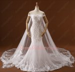 Flat Shoulder Tree Pattern Lace Pure White Wedding Bridal Dress and Mantle Detachable