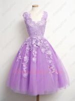 Graceful Lilac Knee Length Homecoming Dress With Appliques Decorated