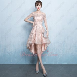 Flat Shoulder Short Sleeve Blush Lace High Low Show Figure Outstanding Dress