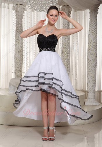 White Princess High-low Annual Dinner Prom Dress With Black Crooked Hemline