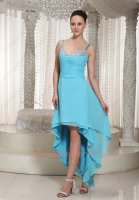 Hi-Lo Style Aqua Blue Chiffon Spaghetti Straps 2019 Drink Party Dancing Dress