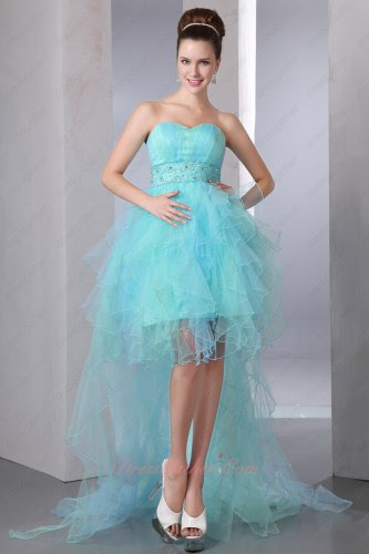 High Low Aqua and Mint Mingled Tulle Ruffles Cocktail Party Dress With Beading Belt