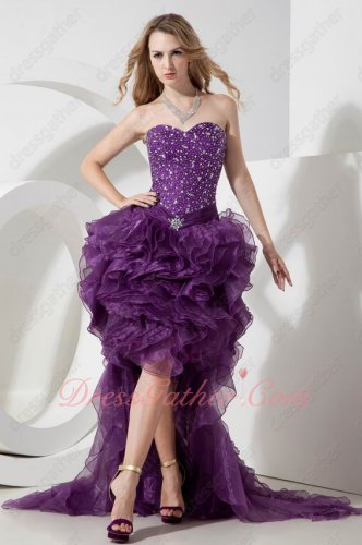 Grape Organza Silver Beading High Low Prom Evening Dress Short Dress With Train