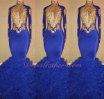 Shealth Mermaid Package Hips Show Figure Stretchy Fabric Royal Blue Dress Gold Applique