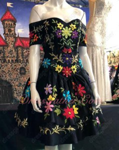 Western Style Colorful Embroidery Two Layers Little Black Prom Dress Cocktail Party