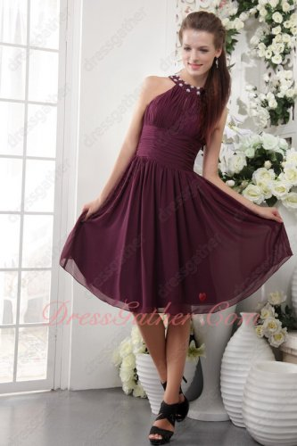 Beading High Collar Dark Purple Knee-length Girl Prom Dress Vacation