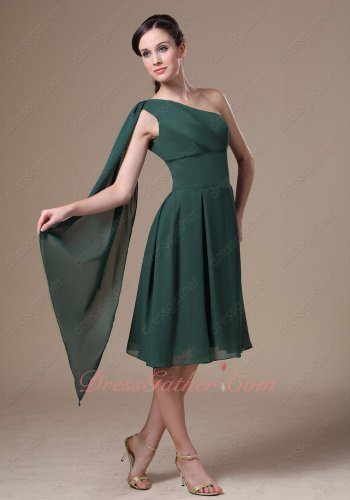 Terse Right Strap Banderol Decorate Dark Hunter Green Chiffon Gown Without Detail