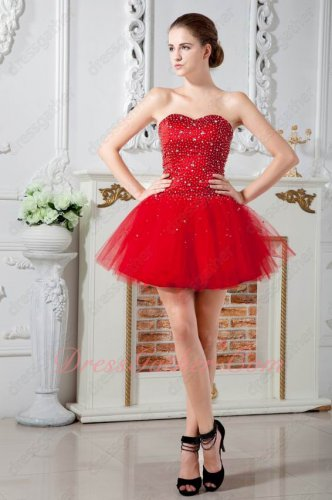 Full Beading Bodice Sweetheart Puffy Short Prom Evening Dress With Tulle Inside