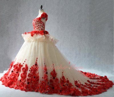 Faerie Scoop Puffy Champagne With Red Forest Series 3D Flowers Stage Show Ball Gown