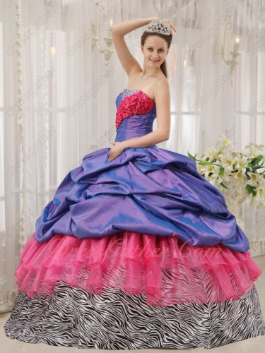 Exclusive Violet Bubble/Coral Red/Zebra 3 Kinds of Layers Party Prom Ball Gown