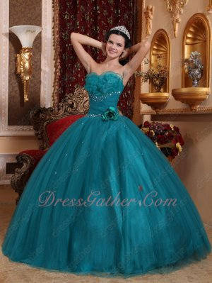 Dark Teal Cyan Mesh Tulle Quinceanera Ball Gown With Layers Flouncing Strapless