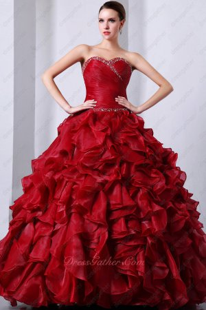 Cascade Ruffle Skirt Wine Red Thick High Quality Organza Puffy Sweet 16 Ball Gown