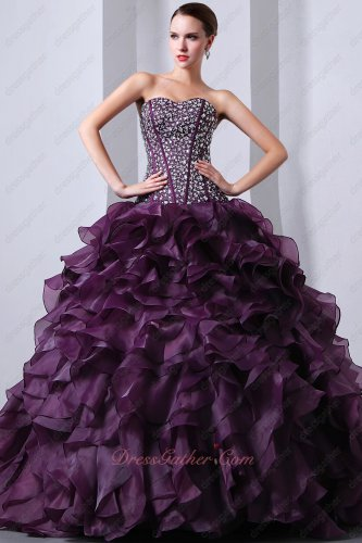 Grape Purple Silver Bead V Waistline Top Ruffles Quinceanera Dresses Gowns Pageant