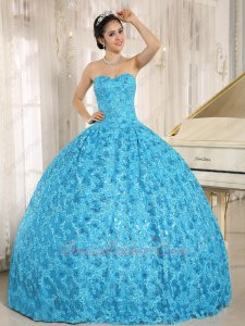 Unique Floret Shiny Aqua Blue Lace Quinceanera Ball Gown as Girl Birthday Gift