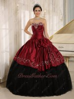 Silver Embroidery Black Plain Tulle Burgundy Taffeta Overlay Quinceanera Ball Gown