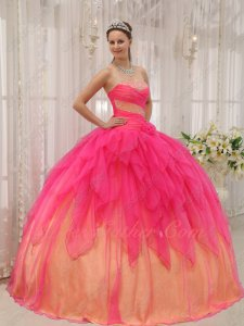 Inverted Triangle Hot Pink Cascade Ruffles Quince Gown Bright Daffodil Lining