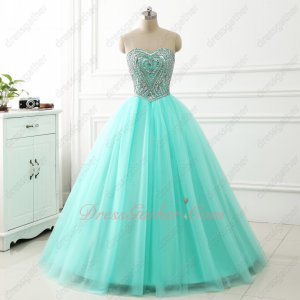 2018 VIP Customized Silver Heart-shaped Rhinestones Beadwork Ball Dresses Mint Green