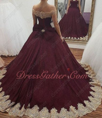 Burgundy Tulle Wave Gold Appliques Evening Quinceanera Gown Detachable Bowknot Back