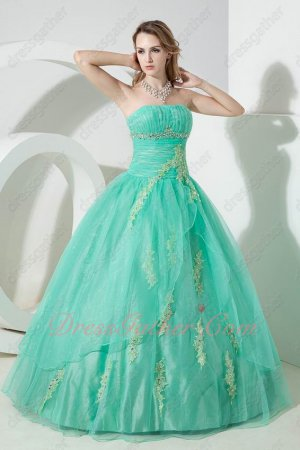 Fashionable Strapless Appliques Natural Wasitline Mint Quinceanera Dress Gown Fluffy