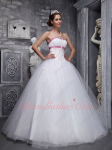 Girdling Nipped Waist Princess Pure White Quinceanera Dress Rose Pink Details