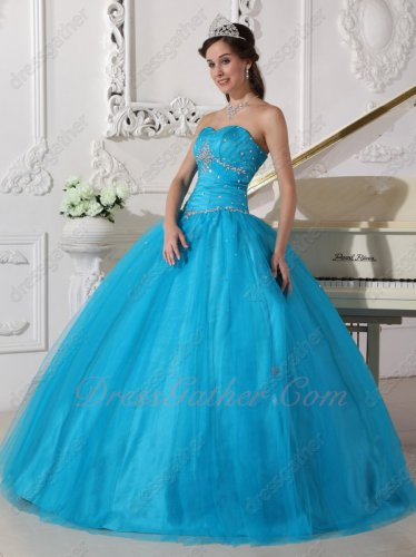 Sky Blue Tulle Military Prom Ball Dress Full Stiff Polyester Boning Bodice