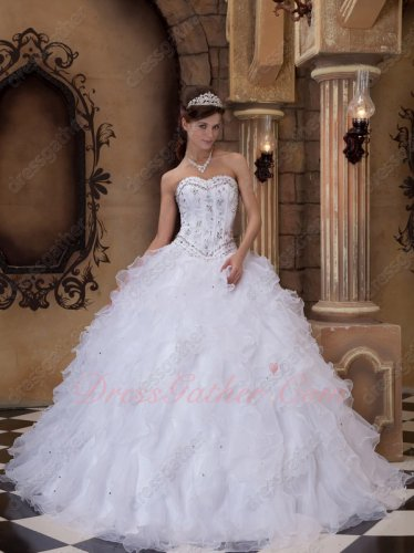 White Organza Curly Edge Ruffles NC Quinceanera Dress V Shaped Wasitline Bodice