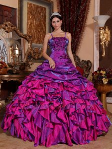 Dichromatic Satin Front Purple Reverse Side Fuchsia/Meganta Different Quinceanera Gown