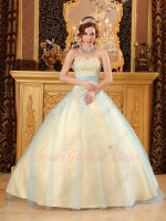 Beadwork Bodice Quinceanera Ball Gown Full Yellow Satin Covered With Aqua Blue Mesh