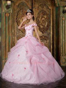 Off Soulder Cute Pink Organza Very Puffy Quince Court Ball Gown Exclusive
