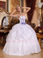 Lavender Details Ruffle Skirt Strapless Quinceanera Dress Pure White