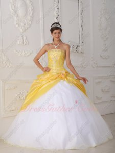 Moonlight Yellow Taffeta Open Coverage Pure White Flat Tulle Skirt Prom Ball Gown