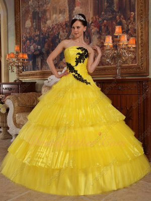 Bright Yellow Organza/Tulle Alternate Layers Quinceanera Ball Gown Princess