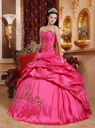 Hot Pink Open Bubble Skirt Handmade Quinceanera Party Dress Cheap From Manufacturer
