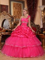 One Shoulder Half Bubble Craft Half Tulle Layers Hot Pink Quinceanera Dress Women