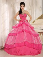 Mature Hot Pink/Off White Mixed Layers Vestido De Special Occasion Ball Gown