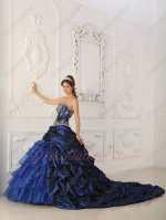 Chapel Bubble Train Overlay Navy Blue Quinceanera Military Ball Gown Village