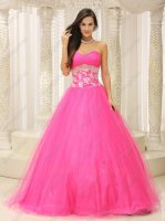 Faddish Sheathy Corset Rose Pink Tulle/Mesh Prom Dance Quince Ball Gown Promotion