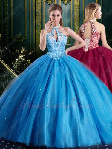 Halter Off White Lining Bodice Sky Blue Folds Skirt Puffy Gowns Quinceanera Boutique