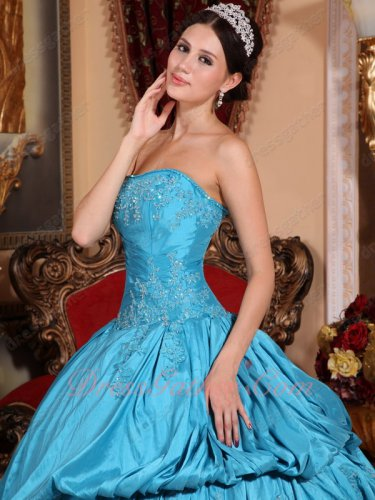 Sky Blue Half Oblique Bubble Half Flat Taffeta Annual General Military Ball Gown
