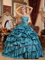 Teal Blue Oblique Bubble and Layers Taffeta Skirt Evening Ball Dresses Old Fashion
