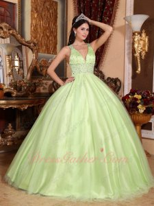 Double Straps Crossed Back V Neckline Sexy Bodice Quinceanera Gown Fresh Viridity
