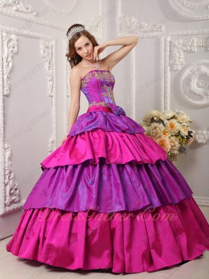Bicolourable Purple And Fuchsia Layers Cake Ball Gown For Military Women Wear