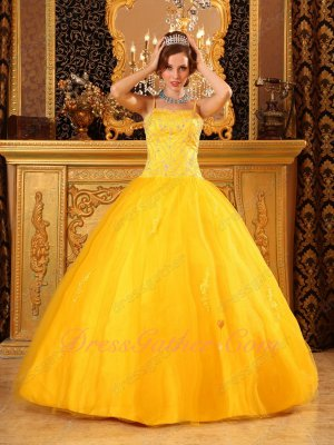 Beauty and the Beast Deep Gold Yellow Spaghetti Straps Court Ball Gown Juniors