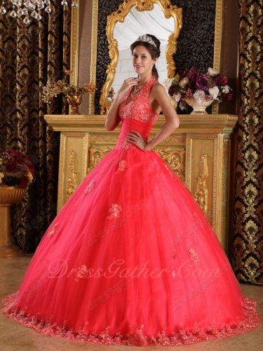 Halter Top Coral Tulle Quinceanera Ball Gown Factory Direct Sell With Middleman